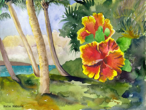 18-Hibiscus with palms